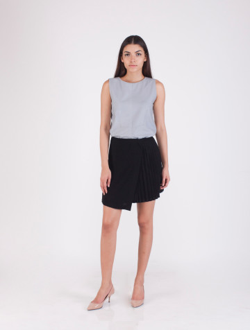 Black Pleats Lindsay Skirt