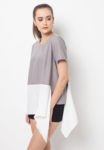 Grey Colorblock Kylie Top