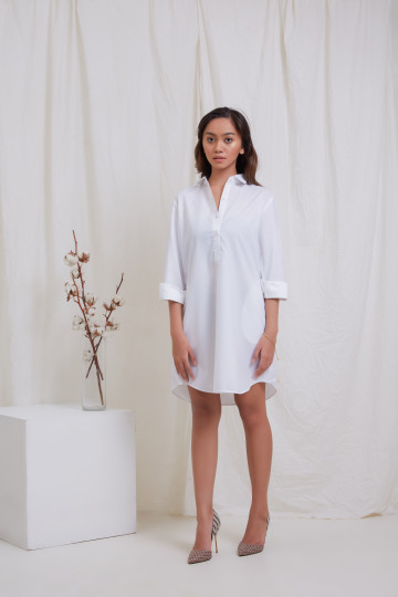 White Long Sleeve Shirt Dress