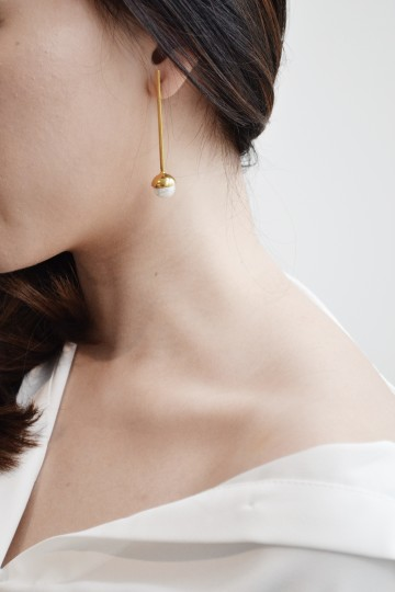 Halve Gold Bar Earrings