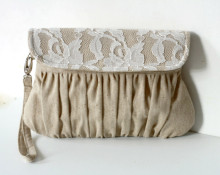 Natural Rustic Linen and Lace Covered Clutch