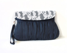 Navy Linen and Lace Pleated Clutch