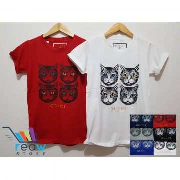 bcb816a2 Kaos / Tumblr Tee / T-Shirt Wanita / Cewek Gucci Kepala Kucing image