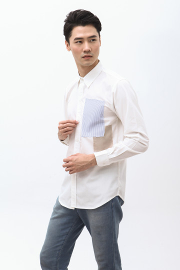 Nabe Two Patches Shirt in White