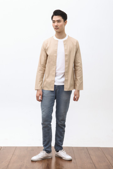 Koto Collarless Jacket in Khaki