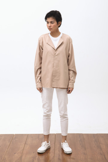 Wasaki Fold Overshirt in Tan