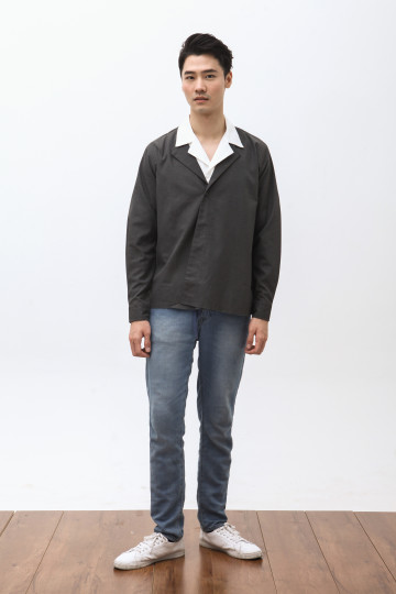 Wasaki Fold Overshirt in Dark Grey
