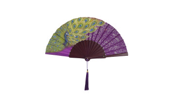 HandPainted Brocade Application Fan Purple Peacock image