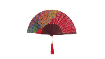 HandPainted Brocade Application Fan Red Peacock image
