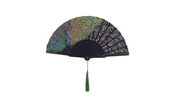 HandPainted Brocade Application Fan Black Peacock image