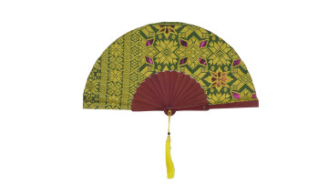 Ethnic Fan - Balinese Hand Weaving Yellow and Green image