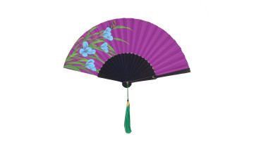 HandPainted Fan Purple Butterfly image