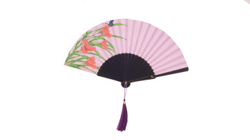 HandPainted Fan Violet Butterfly image