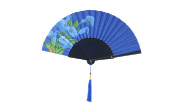 Hand Painted Fan Blue Flower image