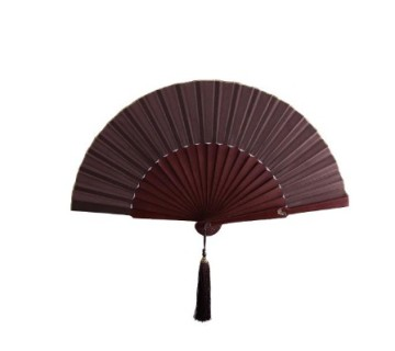 Plain Silk Fan Dark Brown image