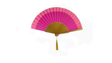 Plain Silk Fan Two Tone Rose Pink Fucia image