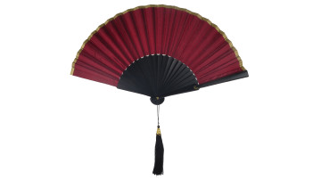 Plain Silk Fan Black Maroon image