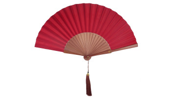 Plain Silk Fan Red Rattan Pink image