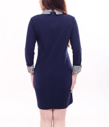 Denzel Long Sleeve Dress Navy