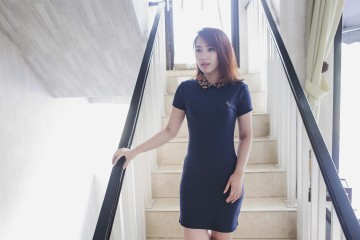 Eden Zip Short Dress Navy