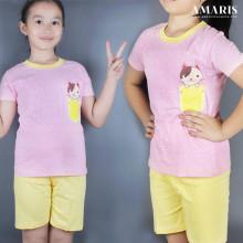 Kaos Anak - Baju Setelan Anak Perempuan - Setelan Main - Kucing