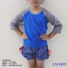 Amaris Kaos Raglan Anak - Raglan Warna - Lengan 3/4 - Unisex