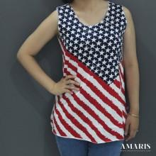 Singlet Wanita - Singlet Motif Bendera - Bendera2 - Amaris Fashion