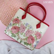 Amaris Handbags - Tas Anyaman -Motif Pink Rose - Kecil