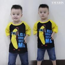Baseball Tshirt BANANA - Kaos Raglan Banana Anak ukuran S s/d M anak