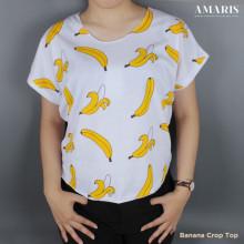 Amaris Kaos Atasan - Banana Crop Top - Kaos Cewek - Banana 2