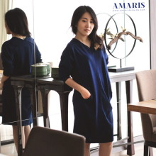 Long Dress - Dress Wanita Casual - Dress Kerah V - Z14717