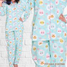 Piyama Cewek - Baju Tidur - Motif Kucing - Amaris Fashion