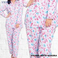 Piyama Cewek - Baju Tidur - Motif Sakura - Amaris Fashion