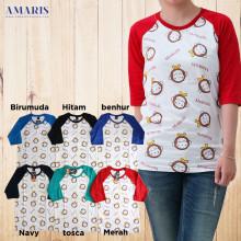 Amaris Fashion Kaos Atasan - Motif Banana Monkichi - Baseball Tshirt  - Unisex