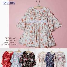 Amaris Fashion - Dress Gamis Motif Bunga Anak Usia 1-3 Tahun Murah
