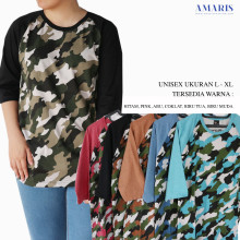 Amaris Fashion - Kaos Raglan Army Warna - Kaos Atasan Dewasa Murah