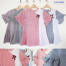 Amaris Fashion - Blouse Garis Pita - Atasan Wanita Lengan Pendek Murah