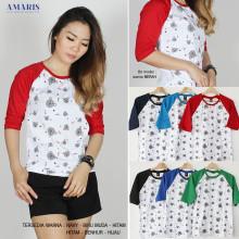 Amaris Fashion - Kaos Raglan 3/4 Motif Bear - Kaos Atasan Murah