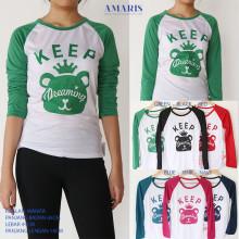 Amaris Fashion - Kaos Lengan Panjang / Keep Dreaming - Raglan Atasan Wanita