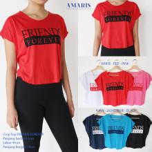 Amaris Fashion - Crop Top / Kaos Crop Motif Friend Forever - Kaos Atasan Wanita