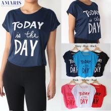 Amaris Fashion - Kaos Crop Today Is The Day - Kaos Atasan Wanita