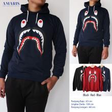Amaris Fashion - Jaket Hoodie Bape / Jaket Kupluk - Premium Quality - Sweater Pria Bape Shark