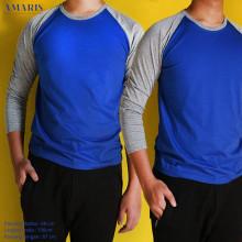 Amaris Fashion - Kaos Raglan Panjang Dasar Warna - Kaos Raglan Unisex