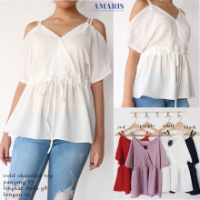 Amaris Fashion - Cold Shoulder Top / Blouse Wanita - Baju Atasan