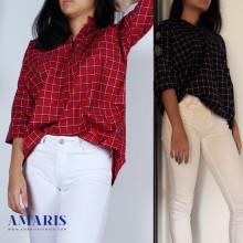 Amaris Fashion - Kemeja Wanita Motif Kotak2 - Blouse Kemeja