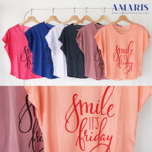 Amaris Fashion - Crop Top - Kaos Atasan Wanita - Smile It's Friday