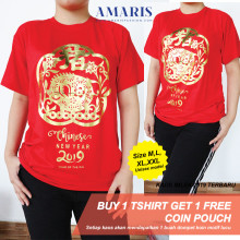 Amaris Fashion - Kaos Imlek Motif Pig Flower Chinese New Year - Kaos Dewasa