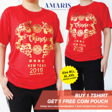 Amaris Fashion - Kaos Imlek Motif Chinese New Year Tulisan Emas