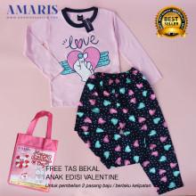 Amaris Fashion - Setelan Piyama Valentine - Baju Tidur LovePink Umur 4-14 tahun