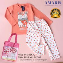 Amaris Fashion - Setelan Piyama Valentine - Baju Tidur Rabbit Peach Umur 4-14 tahun